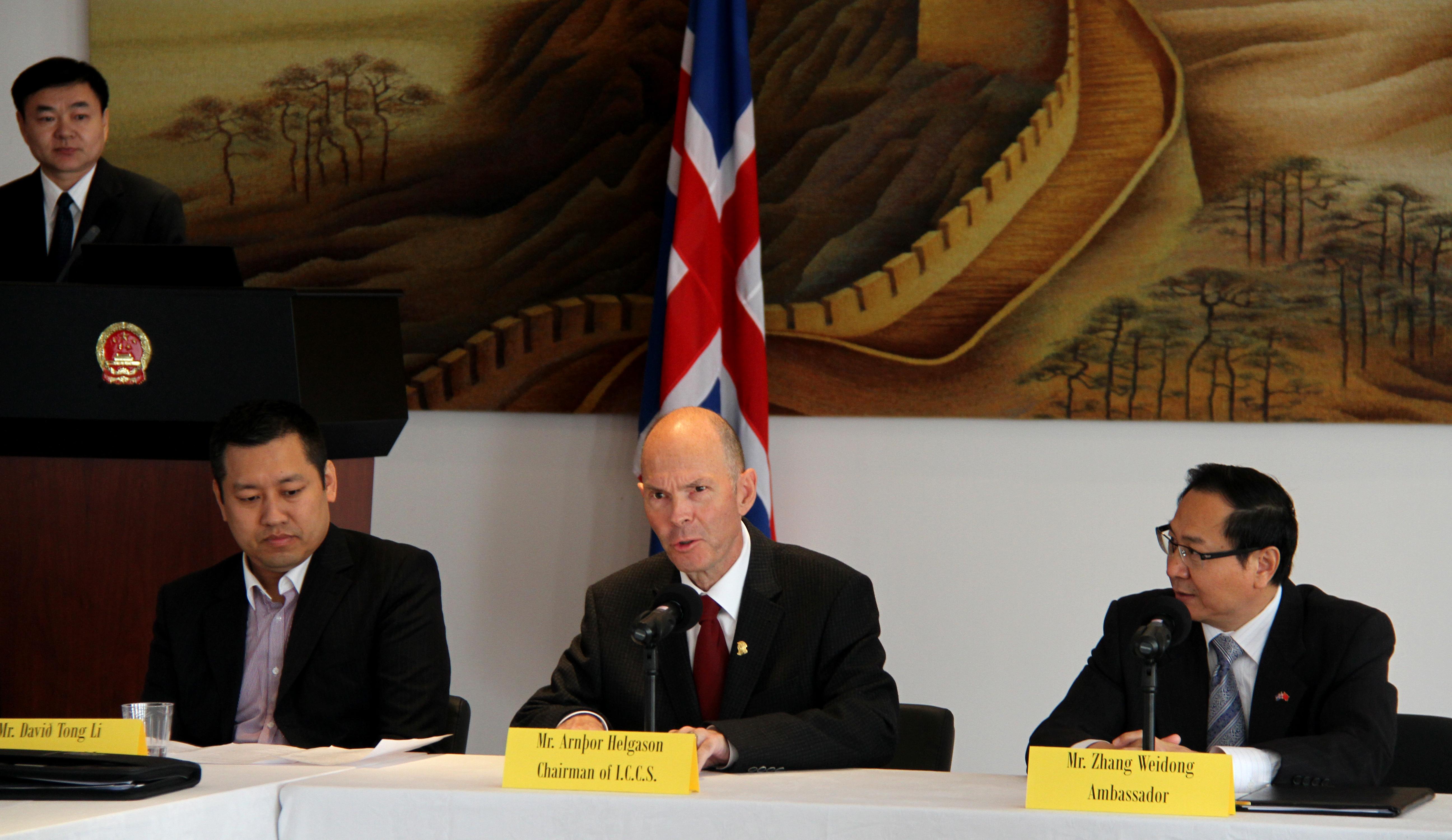 Frá vinstri: Davíð Tong Li, Arnþór Helgason og Zhang Weidong.